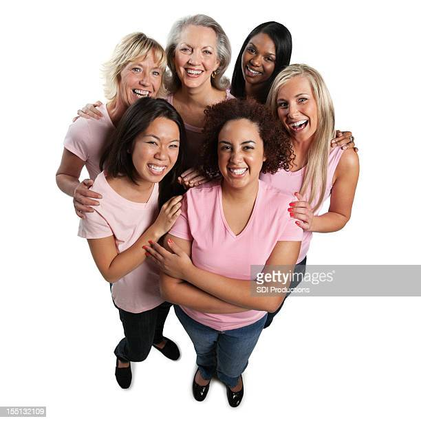 Diverse group of women in pink on white background