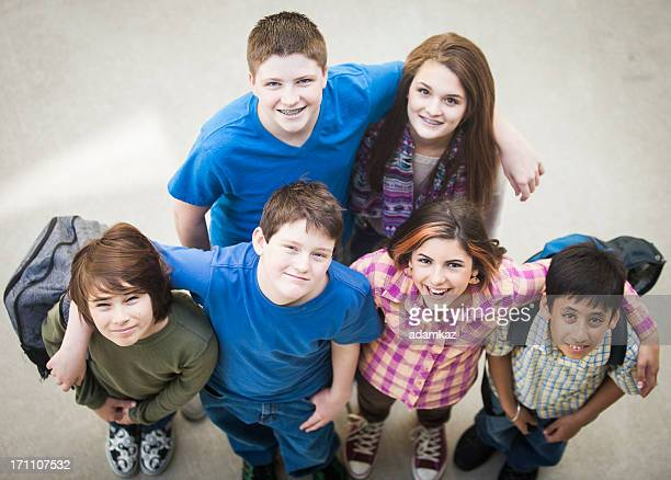 Diverse Group of Young Students Looking Up