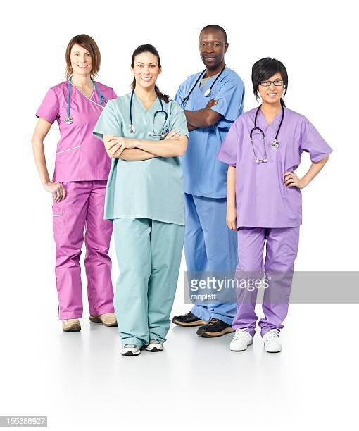 Diverse Healthcare Workers (Isolated on White)