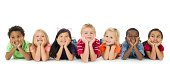 A group of diverse kids on a white background.