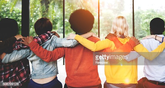 Diverse People Friendship Togetherness Connection Rear View Conc : Stock Photo