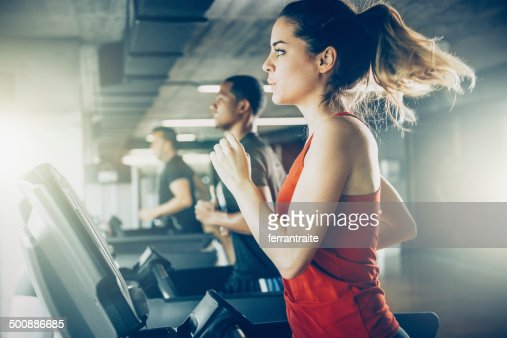 Diverse People Running on Treadmill
