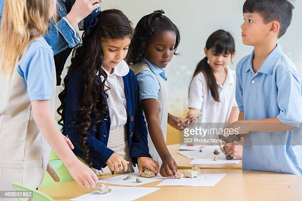 Diverse students in private elementary school science class