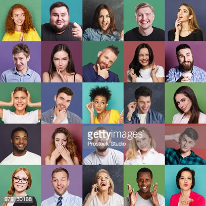 Diverse young people positive and negative emotions set : Stock Photo