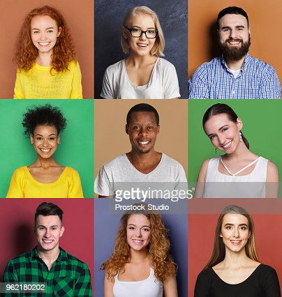 Diverse young people positive emotions set : Stock Photo