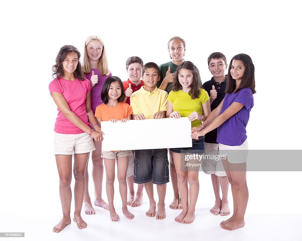 Diversity: Children and Teens Holding Blank Sign with Thumbs Up : Stock Photo