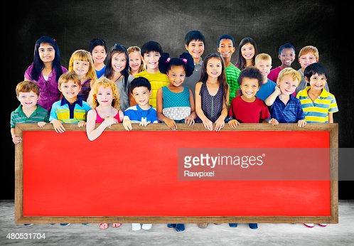 Diversity Friendship Group of Kids Education Blackboard Concept : Stock Photo