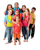 Diversity: Group of Children Standing Together Colorful Full Length