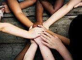 Diversity Group Of Kids Put Hands Together