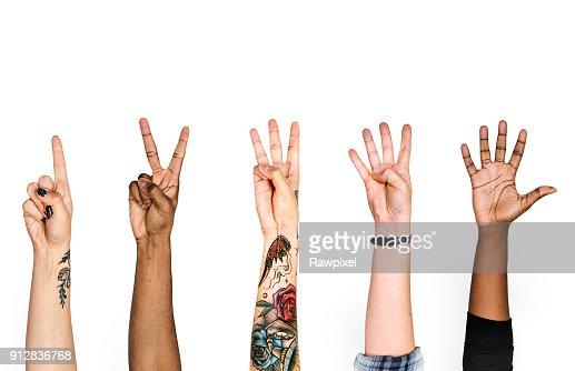 Diversity hands with numeric sign : Stock Photo