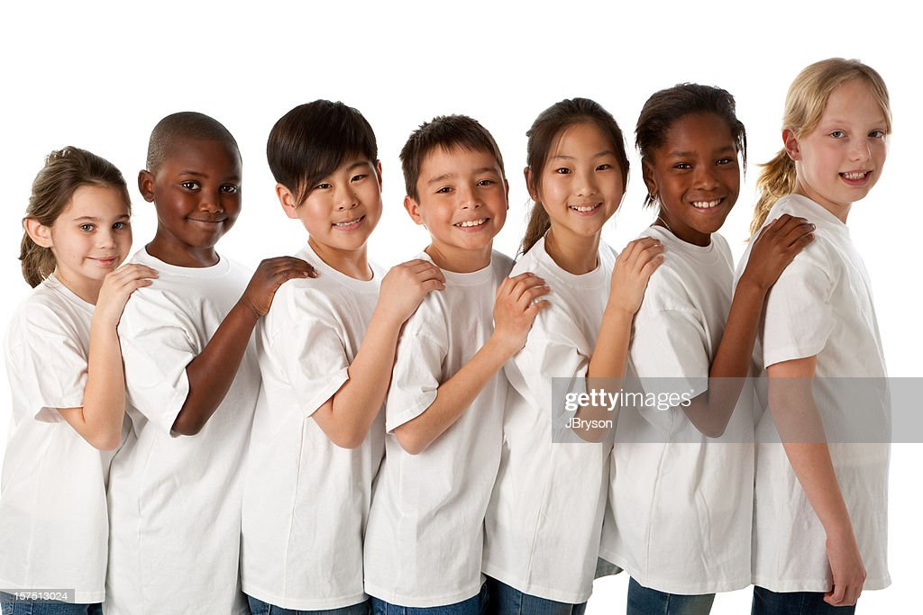 Diversity Multiethnic Group Of Children Stand Together As ...