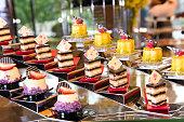 Diversity of dessert with fruit