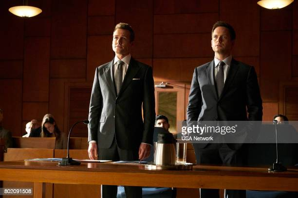 SUITS 'Divide and Conquer' Episode 704 Pictured Gabriel Macht as Harvey Specter Patrick J Adams as Michael Ross