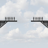 Divided groups concept as two teams of people on a broken bridge as a business metaphor for corporate separation with 3D illustration elements.