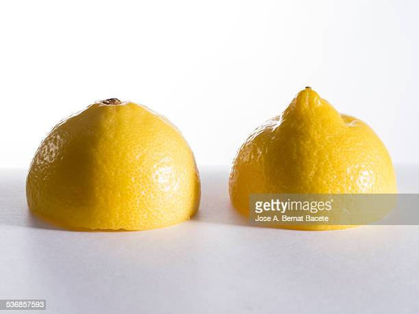 Divided lemon mouth below