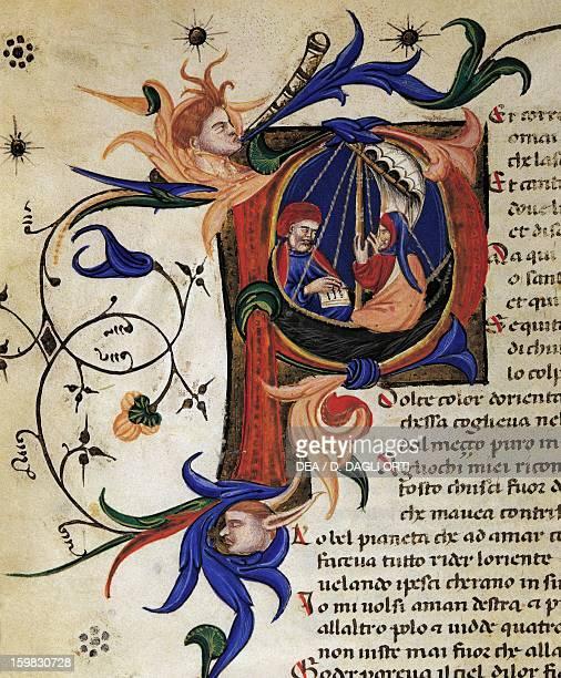 Divine Comedy poem by Dante Alighieri illuminated drop cap from a 1409 manuscript ff 58 R Verona Biblioteca Civica Di Verona