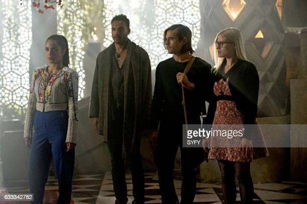 THE MAGICIANS 'Divine Elimination' Episode 203 Pictured Summer Bishil as Margo Arjun Gupta as Penny Jason Ralph as Quentin Olivia Taylor Dudley as...