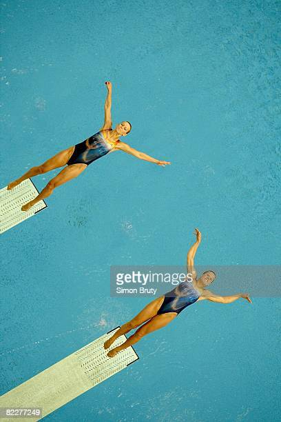 2008 Summer Olympics Germany Ditte Kotzian and Heike Fischer in action during Women's Synchronized 3M Springboard Diving Final at National Aquatics...
