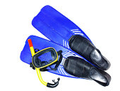 Diving mask and flippers