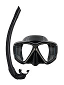Diving set - mask and snorkel, studio shot isolated on white background.