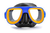 closeup of a blue, yellow and black diving mask on a white background