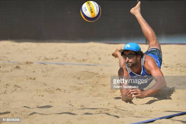Diving on the sand Argentina's Julian Amadp Azaad during FIVB Grand Tour Olsztyn Day 1 on July 19 2017 in Olsztyn Poland