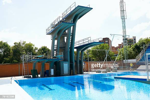 Diving platform at a swimming pool
