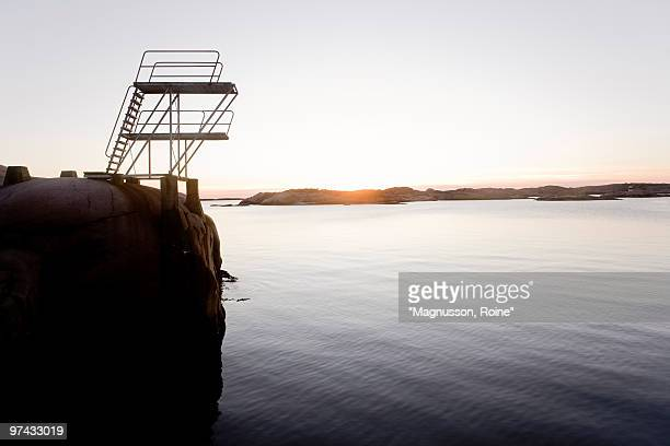 Diving tower by the sea, Sweden.