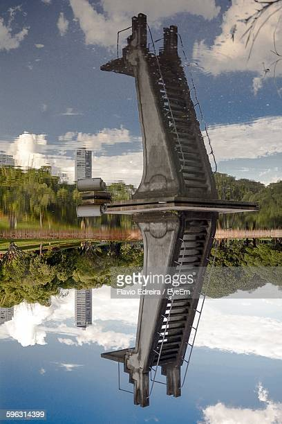 Diving Tower In The Middle Of Lake