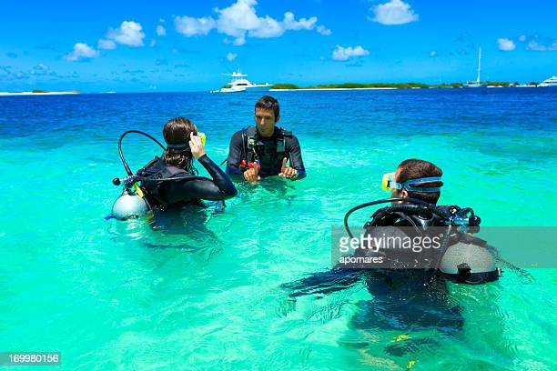 Diving training in a tropical turquoise island