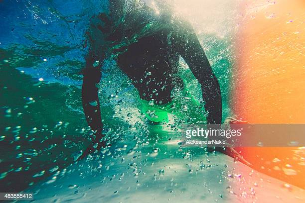 Diving under a wave