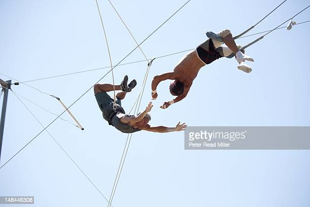 Where Are They Now Portrait of fourtime Olympic gold medalist Greg Louganis during photo shoot at a private trapeze school Los Angeles CA CREDIT...