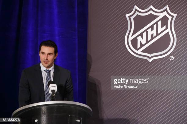 Divisional Player Representative Chris Campoli speaks during the 2017 Scotiabank NHL 100 Classic announcement at the Chateau Laurier on March 17 2017...