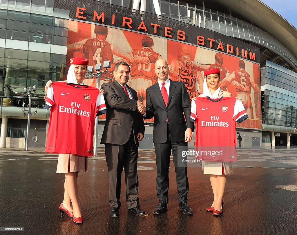 Divisional Senior Vice President - Corporate Communications of Emirates Airlines Boutros Boutros and Arsenal CEO Ivan Gazidis announce new commercial partnership with Emirates Airlines at Emirates Stadium on November 23, 2012 in London, England.