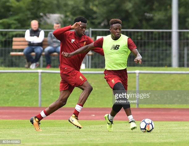 Divock Origi and Ovie Ejaria of Liverpool during a training session at RottachEgern on July 27 2017 in Munich Germany