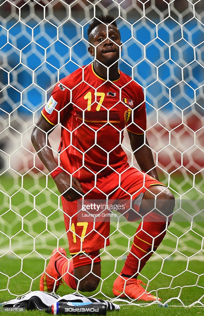<a gi-track='captionPersonalityLinkClicked' href=/galleries/search?phrase=Divock+Origi&family=editorial&specificpeople=10183754 ng-click='$event.stopPropagation()'>Divock Origi</a> of Belgium reacts after a missed chance during the 2014 FIFA World Cup Brazil Round of 16 match between Belgium and the United States at Arena Fonte Nova on July 1, 2014 in Salvador, Brazil.