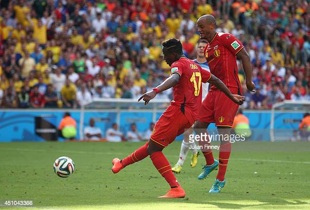 Divock Origi of Belgium scores his team's first goal during the 2014 FIFA World Cup Brazil Group H match between Belgium and Russia at Maracana on...