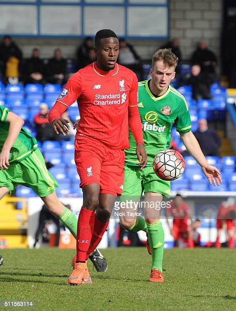 Divock Origi of Liverpool and Martin Smith of Sunderland in action during the Liverpool v Sunderland Barclays U21 Premier League game at the Lookers...