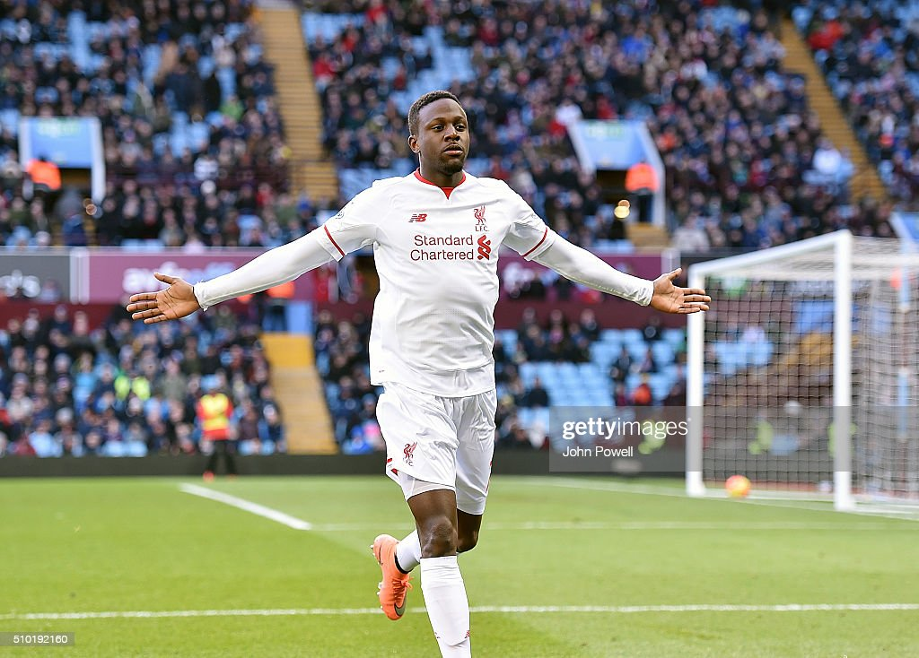 <a gi-track='captionPersonalityLinkClicked' href=/galleries/search?phrase=Divock+Origi&family=editorial&specificpeople=10183754 ng-click='$event.stopPropagation()'>Divock Origi</a> of Liverpool celebrates after scoring during the Barclays Premier League match between Aston Villa and Liverpool at Villa Park on February 14, 2016 in Birmingham, England.