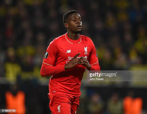 Divock Origi of Liverpool celebrates after scoring the opening goal during the UEFA Europa League Quarter Final First Leg match between Borussia...