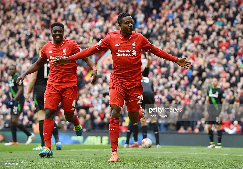 <a gi-track='captionPersonalityLinkClicked' href=/galleries/search?phrase=Divock+Origi&family=editorial&specificpeople=10183754 ng-click='$event.stopPropagation()'>Divock Origi</a> of Liverpool celebrates after scoring the third for Liverpool during the Barclays Premier League match between Liverpool and Stoke City at Anfield on April 10, 2016 in Liverpool, England