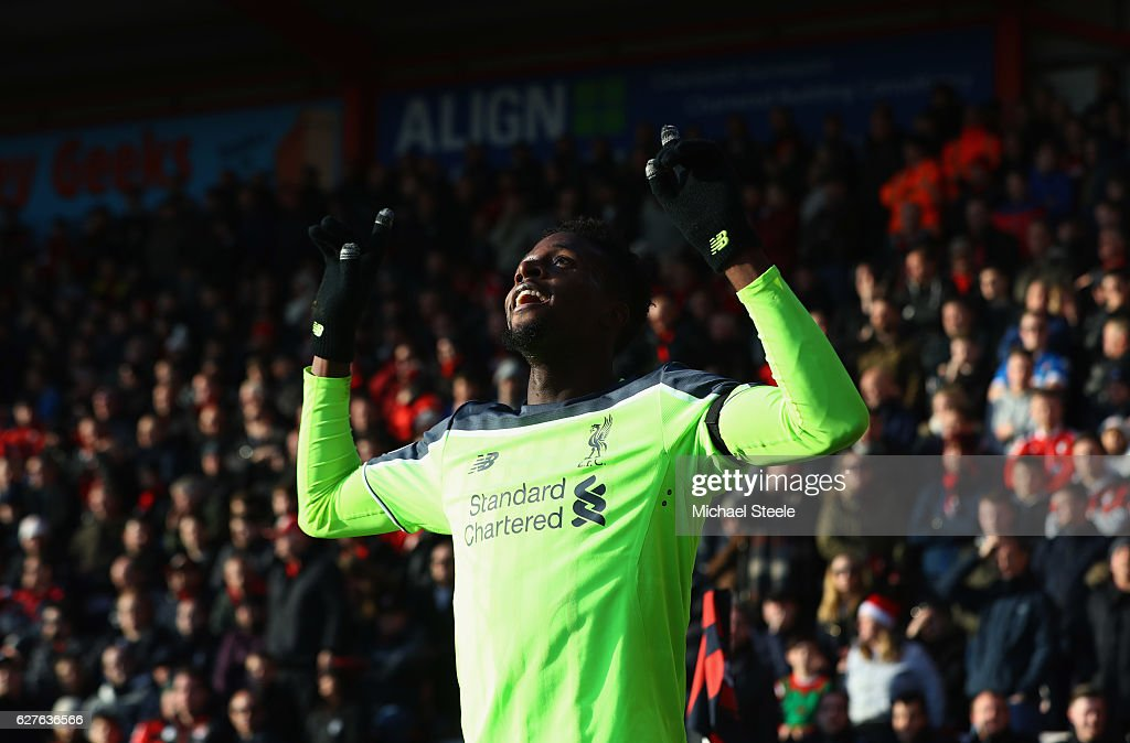 Divock Origi of Liverpool celebrates as he scores their second goal during the Premier League match between AFC Bournemouth and Liverpool at Vitality Stadium on December 4, 2016 in Bournemouth, England.