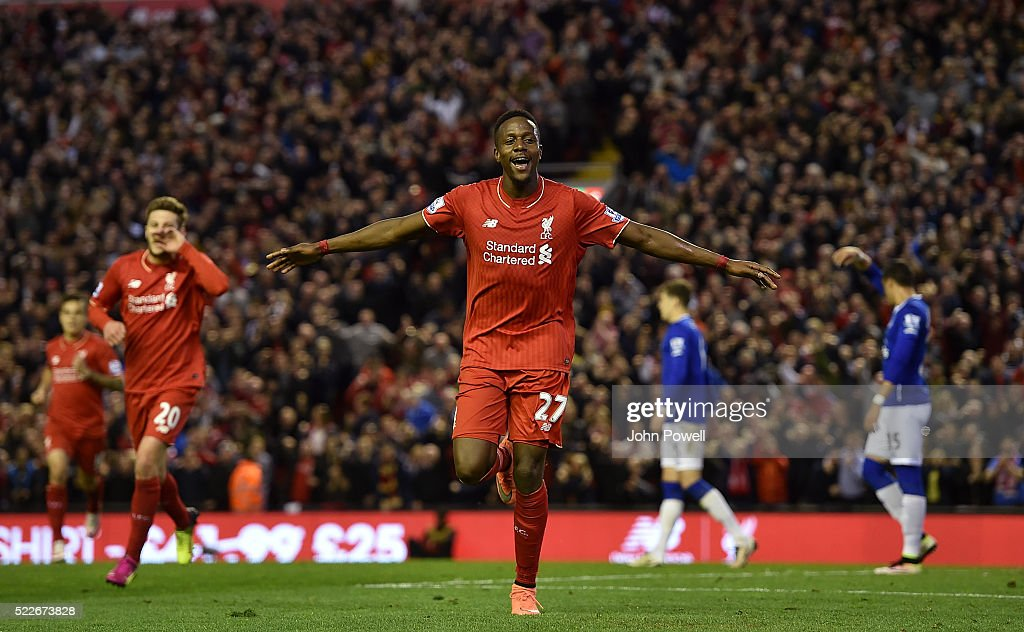 <a gi-track='captionPersonalityLinkClicked' href=/galleries/search?phrase=Divock+Origi&family=editorial&specificpeople=10183754 ng-click='$event.stopPropagation()'>Divock Origi</a> of Liverpool celebrates his goal during the Barclays Premier League match between Liverpool and Everton at Anfield on April 20, 2016 in Liverpool, England