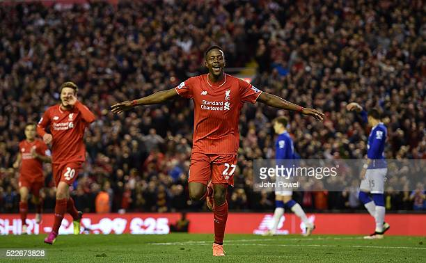 Divock Origi of Liverpool celebrates his goal during the Barclays Premier League match between Liverpool and Everton at Anfield on April 20 2016 in...