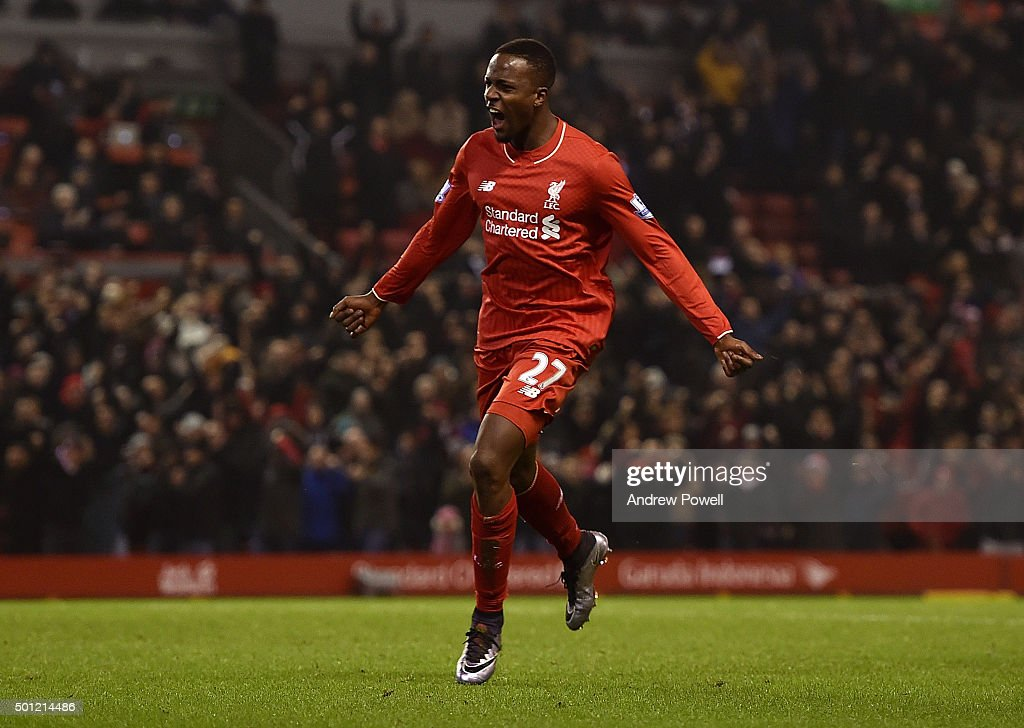 <a gi-track='captionPersonalityLinkClicked' href=/galleries/search?phrase=Divock+Origi&family=editorial&specificpeople=10183754 ng-click='$event.stopPropagation()'>Divock Origi</a> of Liverpool celebrates scoring the equalising goal during the Barclays Premier League match between Liverpool and West Bromwich Albion at Anfield on December 13, 2015 in Liverpool, England.
