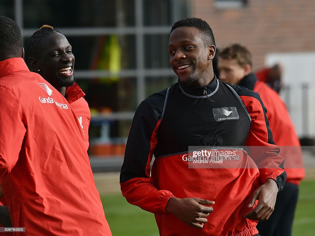 <a gi-track='captionPersonalityLinkClicked' href=/galleries/search?phrase=Divock+Origi&family=editorial&specificpeople=10183754 ng-click='$event.stopPropagation()'>Divock Origi</a> of Liverpool during a training session at Melwood Training Ground on February 12, 2016 in Liverpool, England.