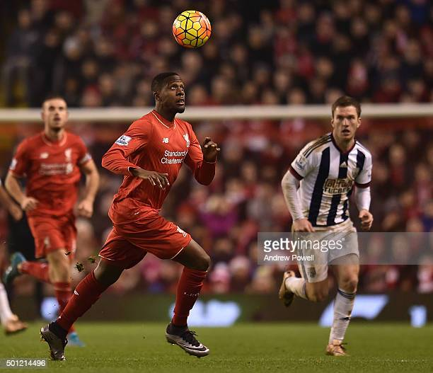 Divock Origi of Liverpool during the Barclays Premier League match between Liverpool and West Bromwich Albion at Anfield on December 13 2015 in...