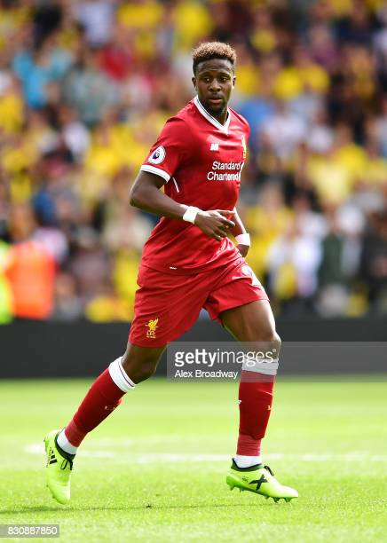 Dominic Solanke of Liverpool in action during the during the Premier League match between Watford and Liverpool at Vicarage Road on August 12 2017 in...