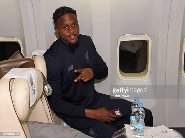 Divock Origi of Liverpool on the plane to Australia at Melwood Training Ground on May 22 2017 in Liverpool England