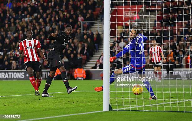 Divock Origi of Liverpool scores a goal to make it 16 during the Capital One Cup Quarter Final between Southampton and Liverpool at St Mary's Stadium...